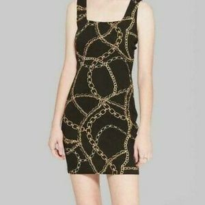 Women's Strappy Knit Chain Print Dress - XS